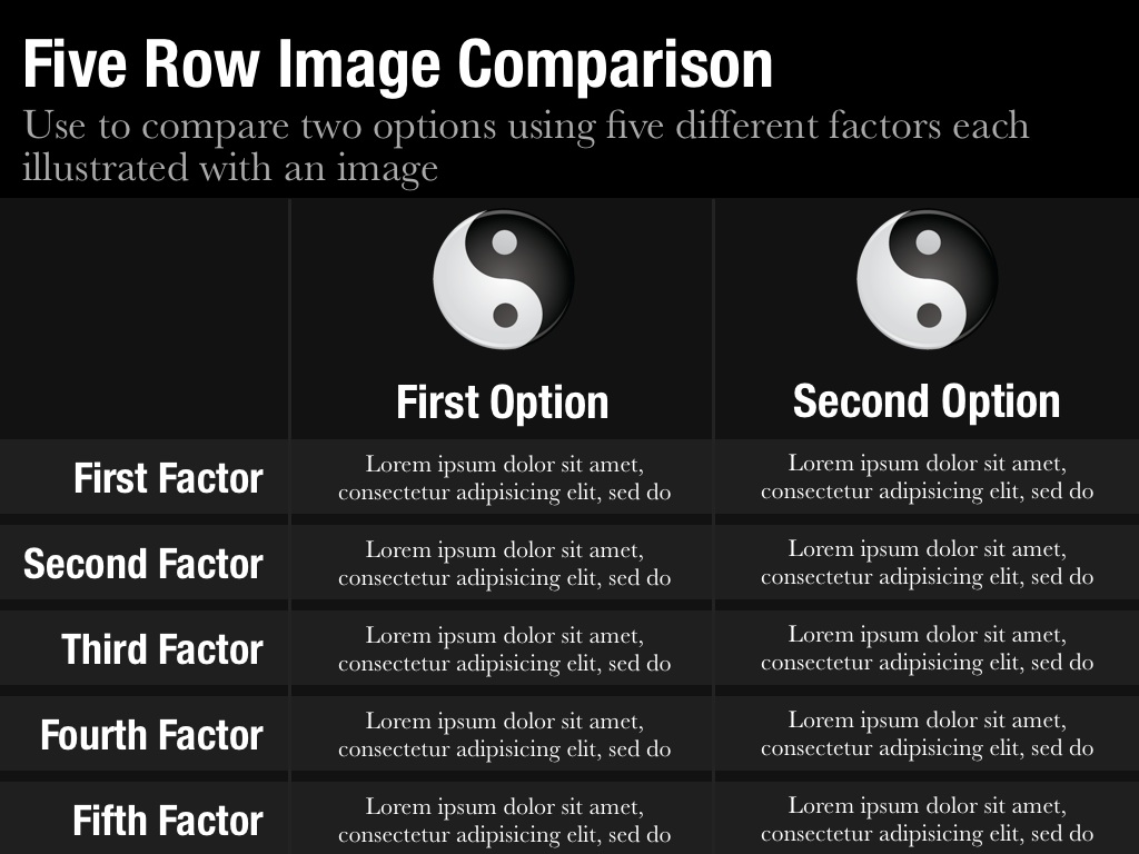 Image comparison template for keynote and powerpoint slidevana five row image comparison slide alramifo Images