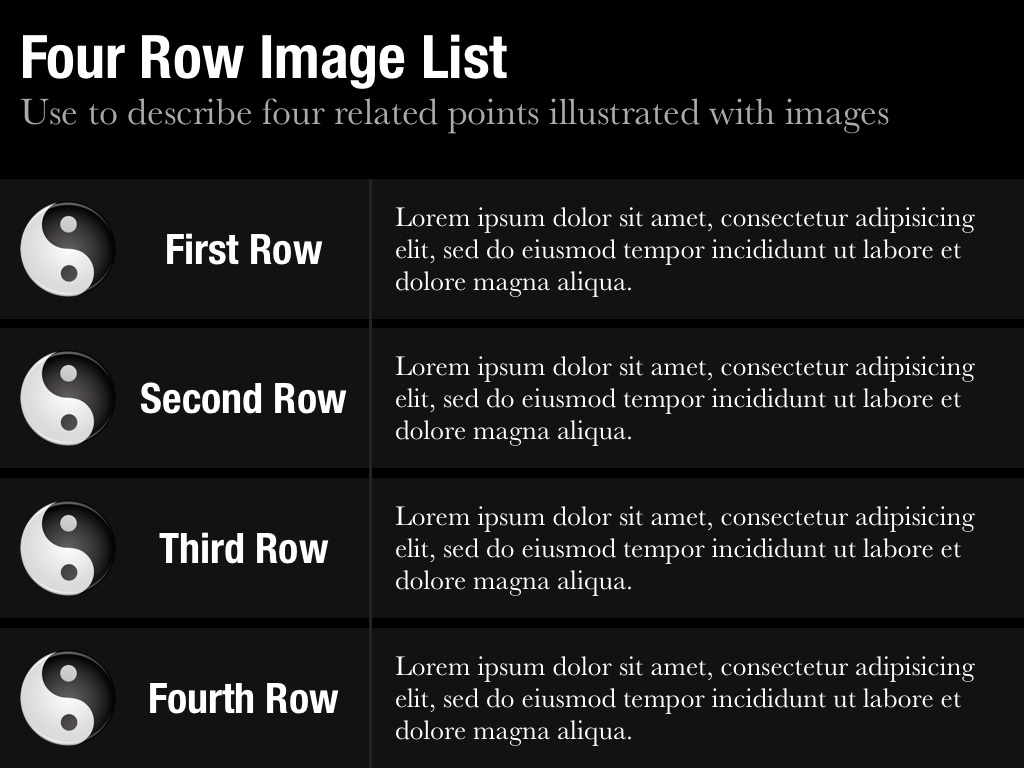 Row Image List Slide