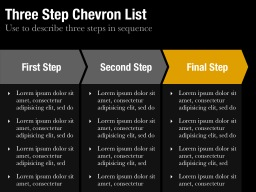 Three StepChevron List Slide