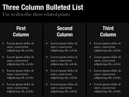 Three Column Bulleted List Slide