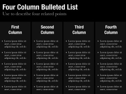 Four Column Bulleted List Slide