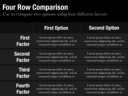 Four Row Comparison Slide