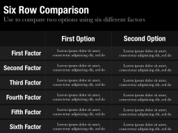 Six Row Comparison Slide