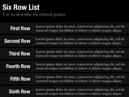 Six Row List Slide