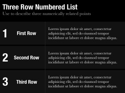 Three Row Numbered List Slide