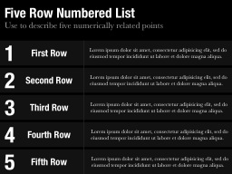 Five Row Numbered List Slide