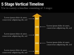 Five Stage Vertical Timeline Slide