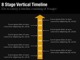 Eight Stage Vertical Timeline Slide