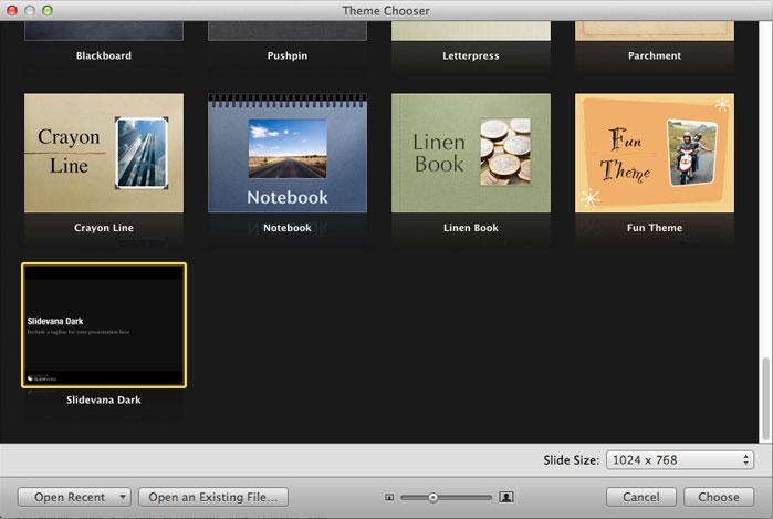 iWork Keynote Theme Chooser
