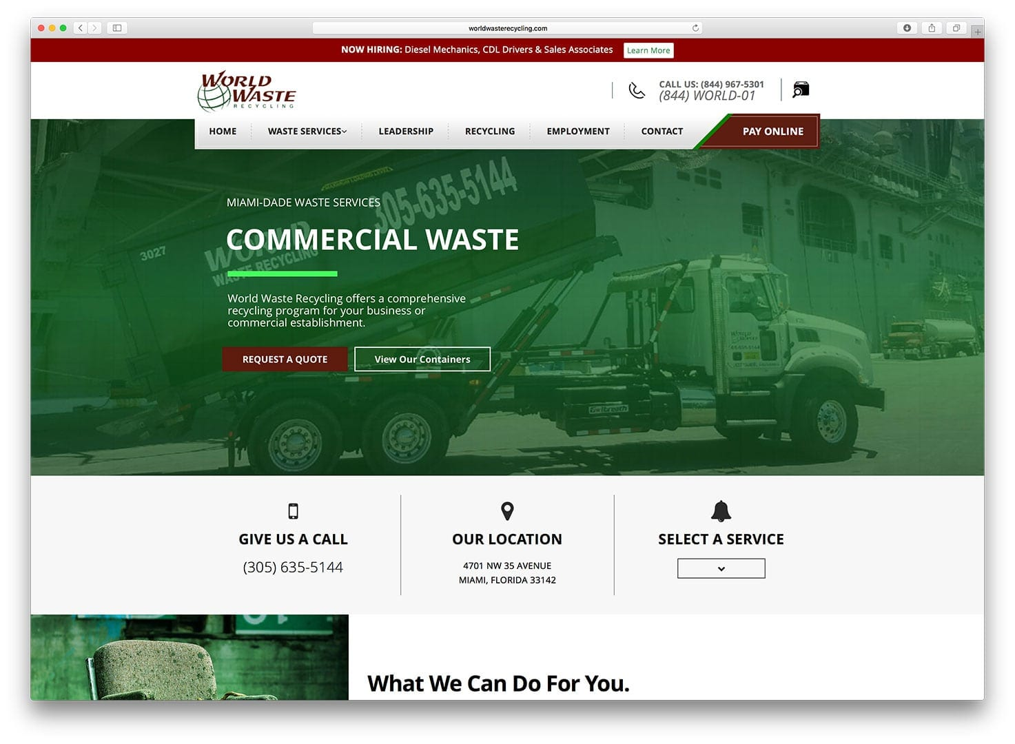 World Waste Recycling Web Design - After - sliStudios - Miami Beach