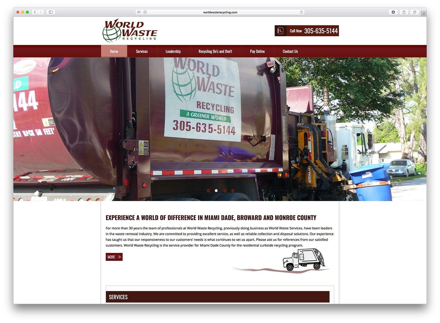 World Waste Recycling Web Design - Before - sliStudios - Miami Beach