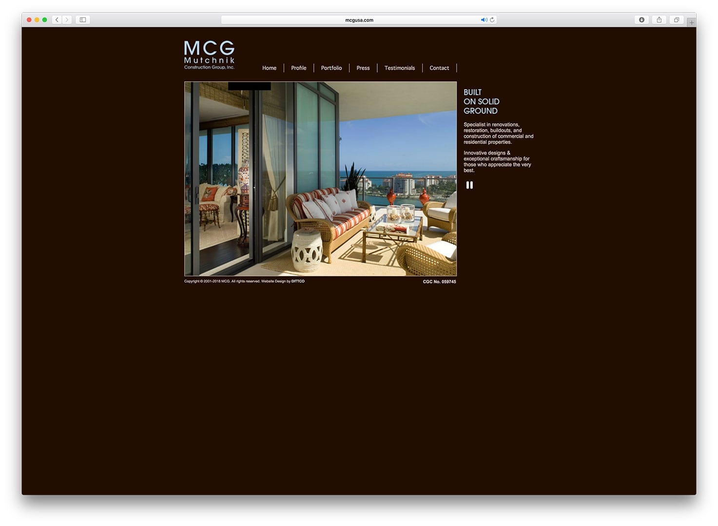Muchnik Construction Group Miami Beach Web Design - Before