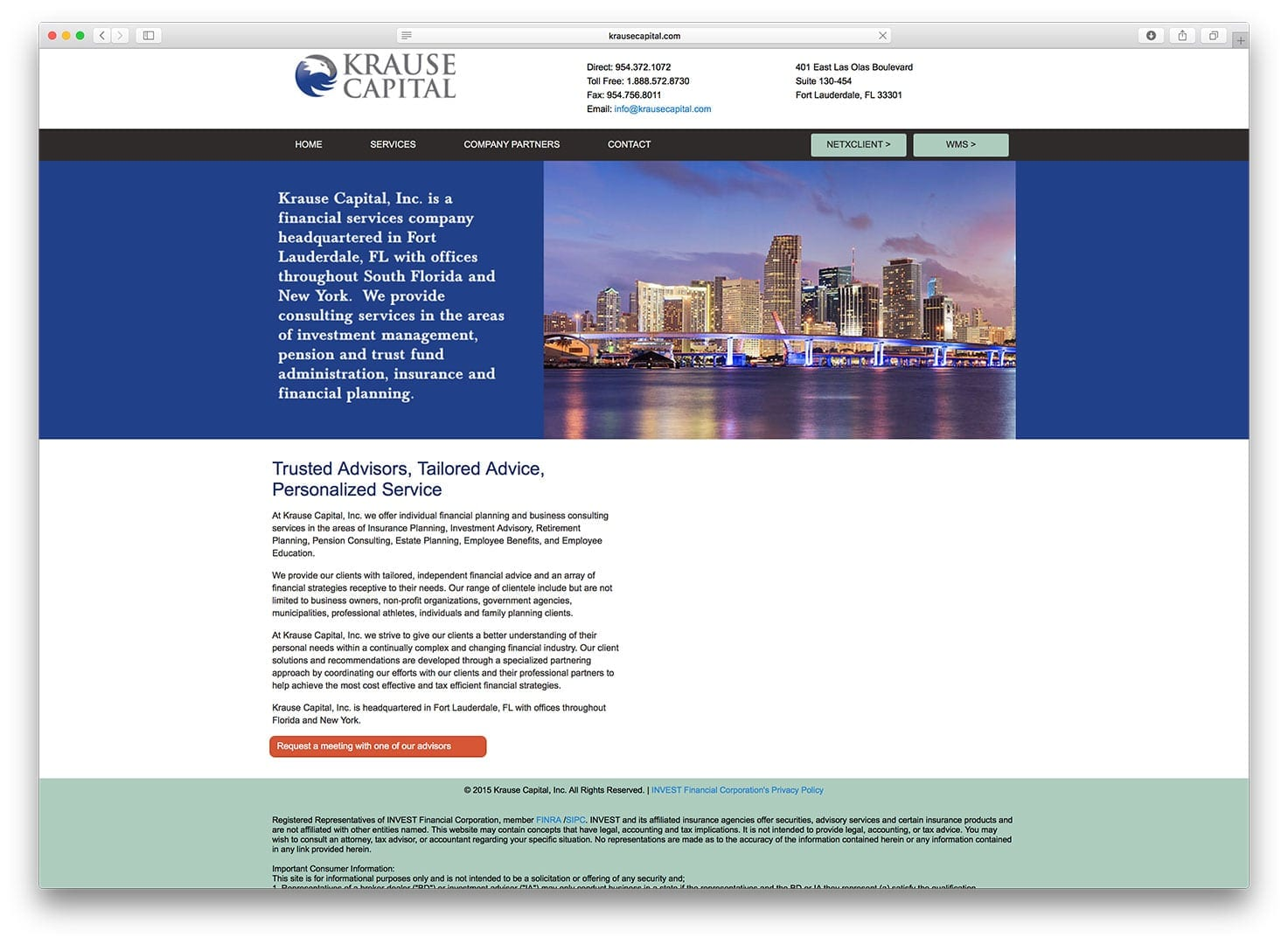 Krause Capital Web Design - Finance Web Design - sliStudios - Miami Beach