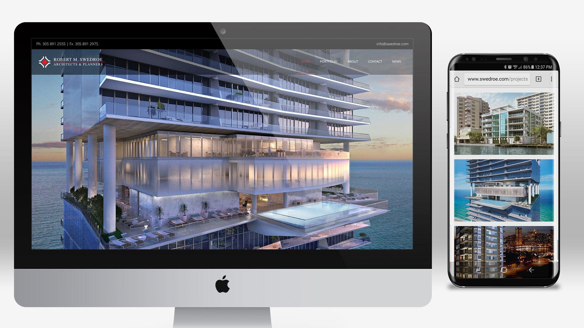 Swedroe Architecture Website Design - sliStudios - Miami