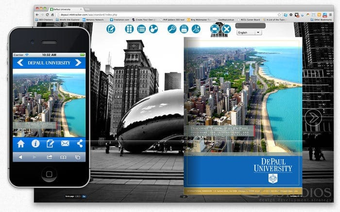 DePaul University International Student Recruiting Booklet with Interactive Web Application Development - sliStudios - Miami