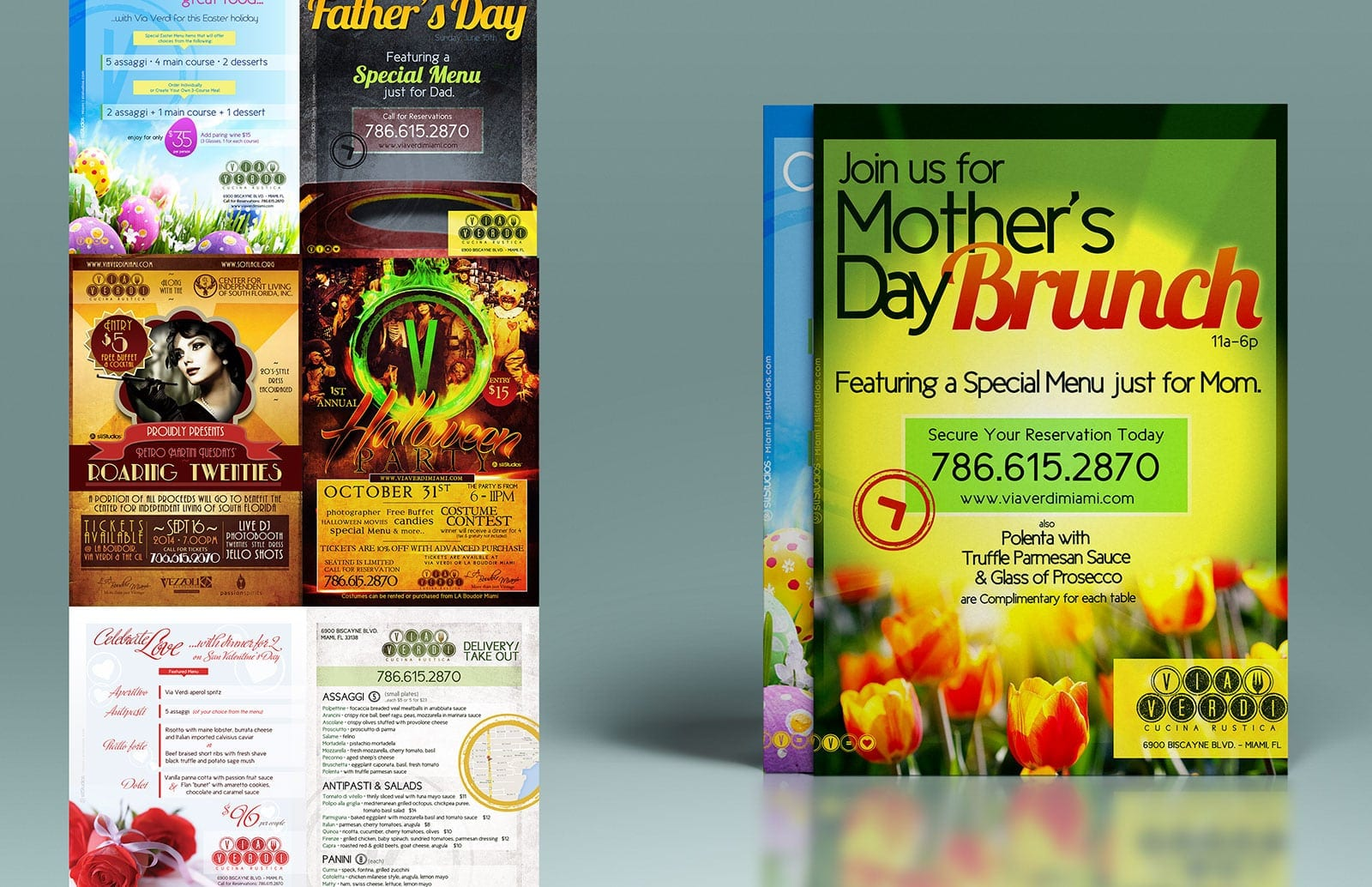 Via Verdi Cucina Rustica - Marketing Flyer Design - Branding - sliStudios - Miami