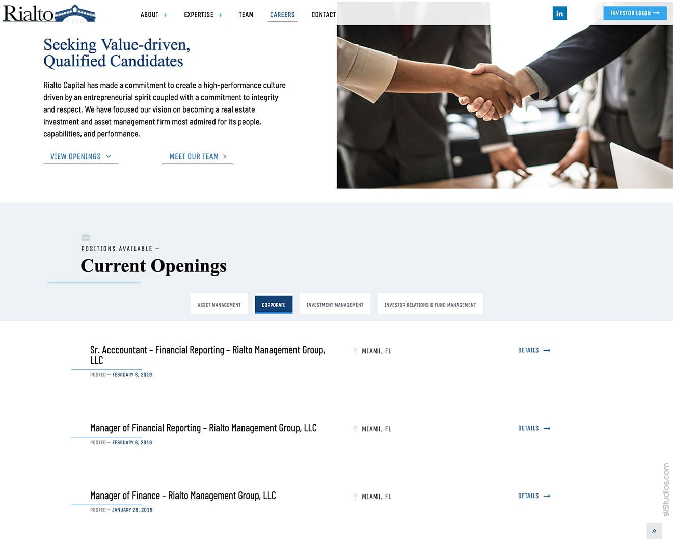 Career Page with Job Listings - Rialto Capital