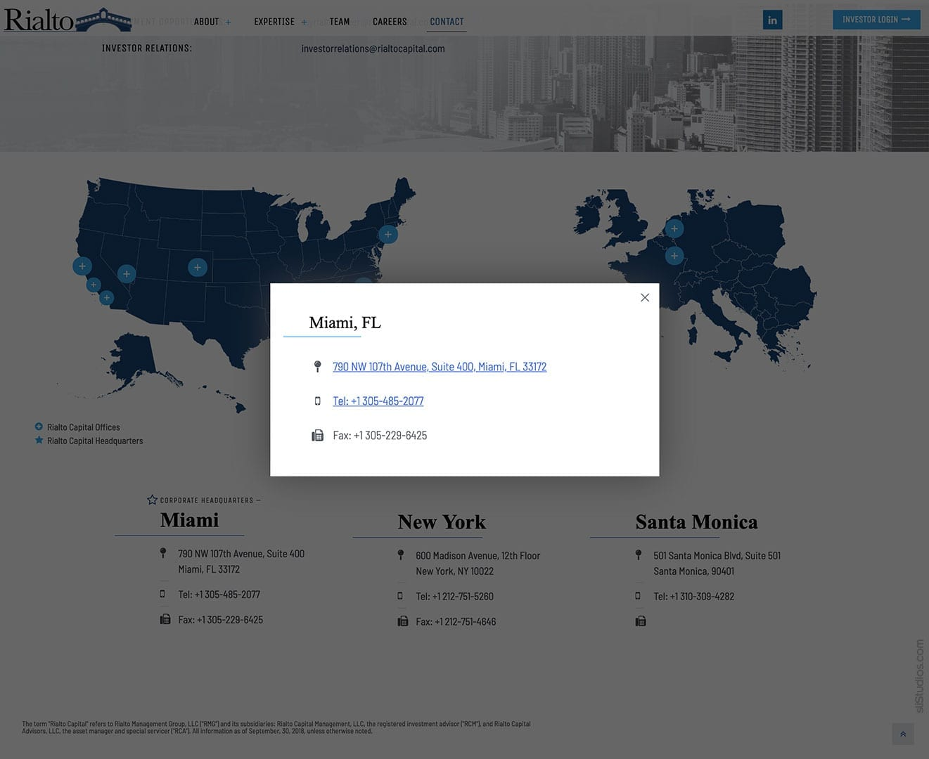 Interactive Location Map with Modal Popups - Rialto Capital