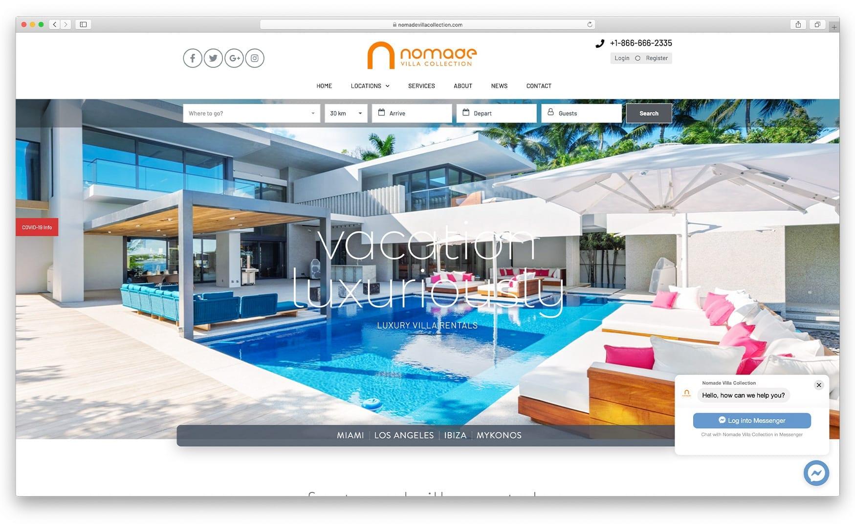 Nomade Villa Collection – nomadevillacollection.com - Website Design by sliStudios | Miami