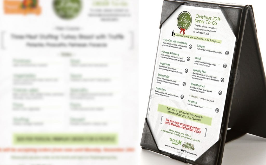 Via Verdi Cucina Rustica -Table Tents and Menus