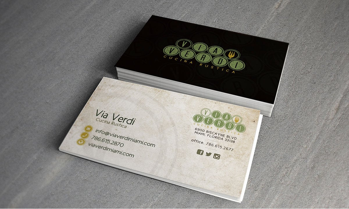 Via Verdi Cucina Rustica -Business Cards