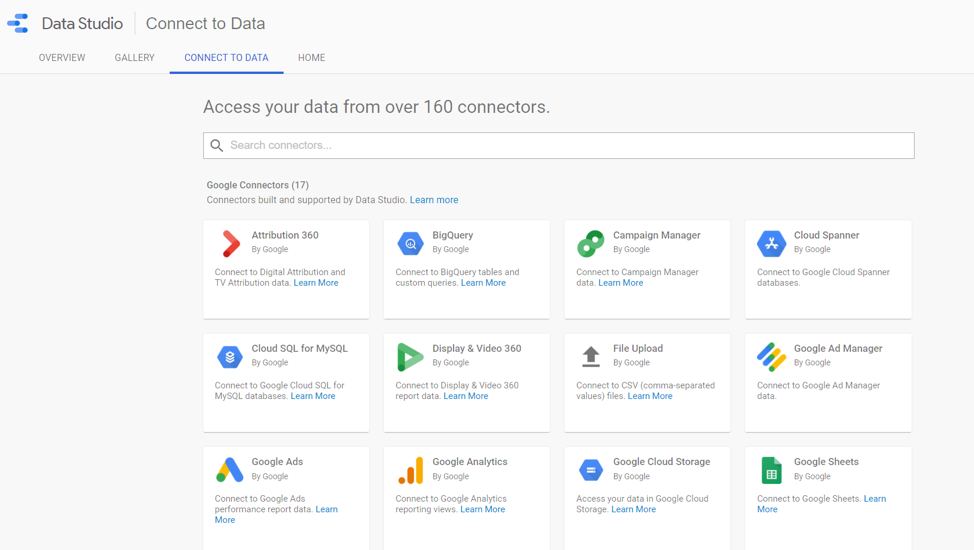 Google Data Studio connectors