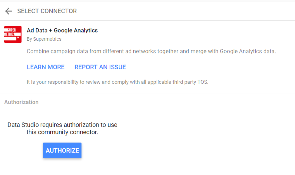 Google Analytics connector for Google Data Studio