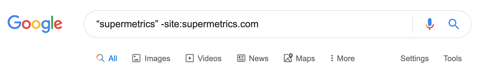 mention tracking for supermetrics using google search