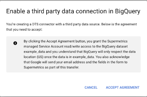 Accept data connection agreement