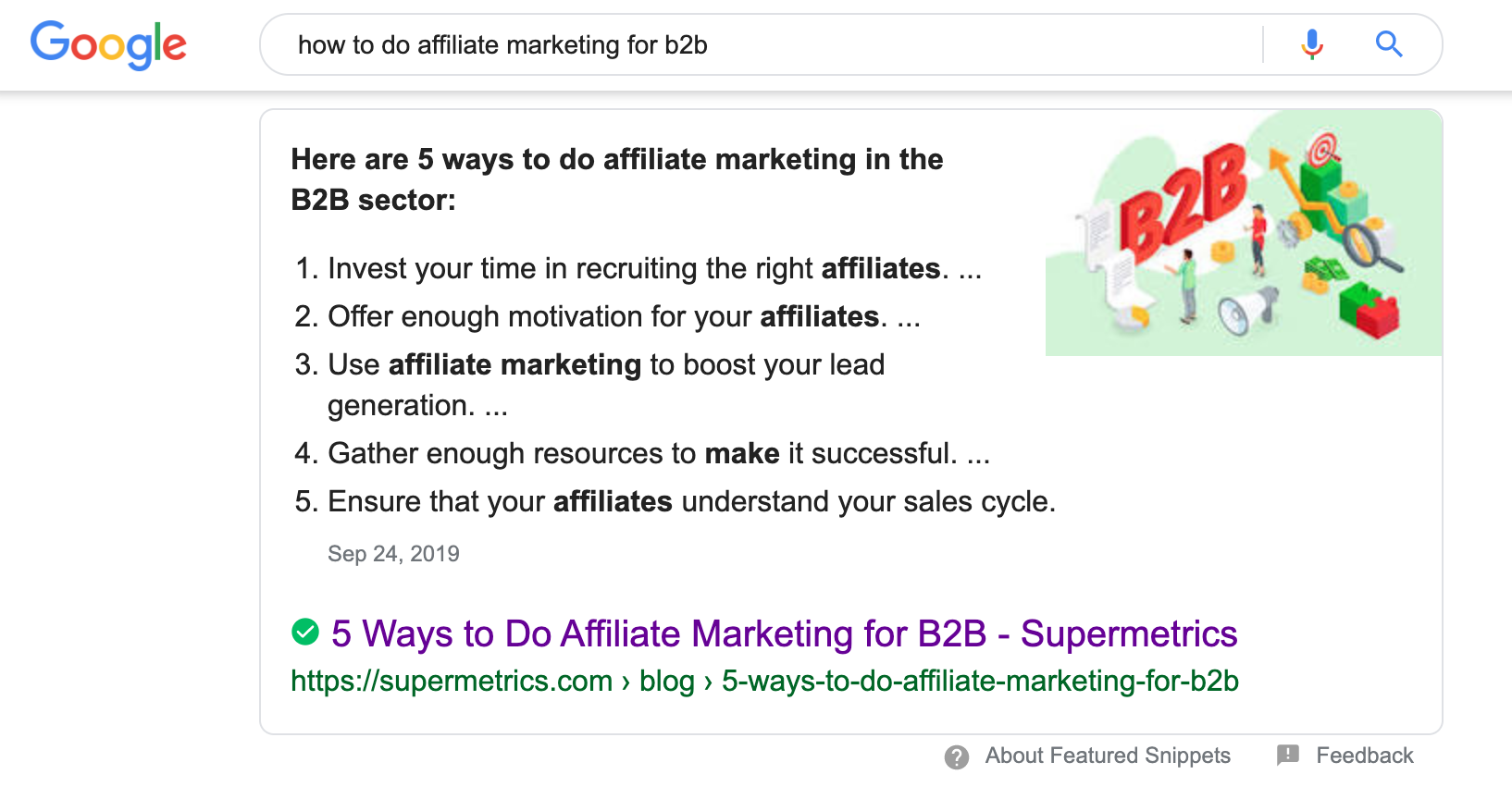 featured snippet for how to do affiliate marketing for b2b