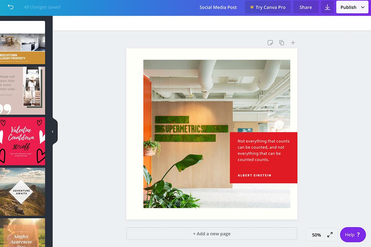 screenshot of canva dashboard