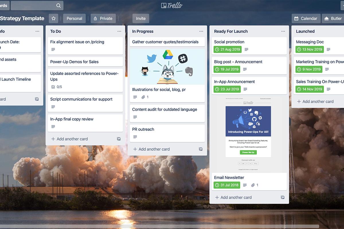 trello dashboard screenshot