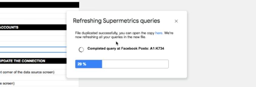 refreshing Supermetrics queries window