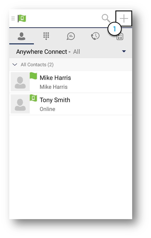 Anywhere Connect, All contacts view, individual user status with plus icon highlighted - Image opens in full resolution in a new tab