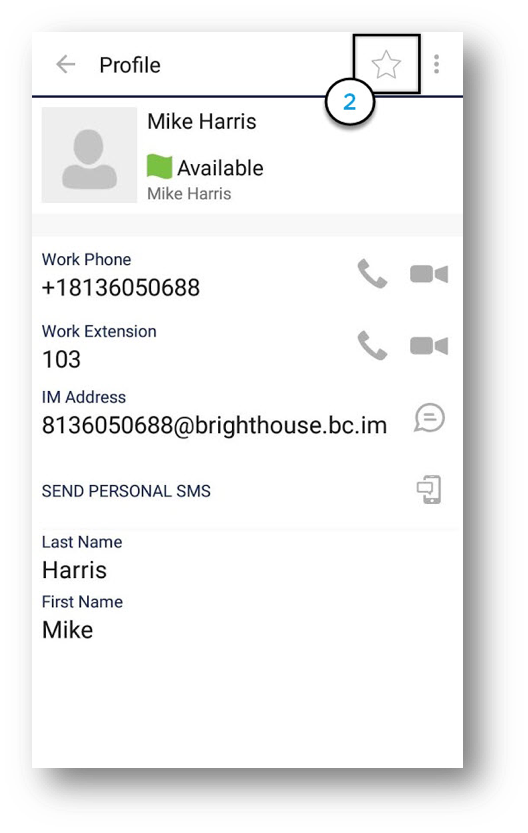 Contact profile displaying user status as available, work phone, work extension, IM address,  Send Personal SMS icon, First and Last name, with Star in upper top right corner highlighted - Image opens in full resolution in a new tab