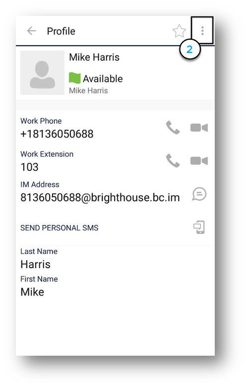 Contact profile displaying user status as available, work phone, work extension, IM address,  Send Personal SMS icon, First and Last name, with Options icon in upper right corner highlighted - Image opens in full resolution in a new tab