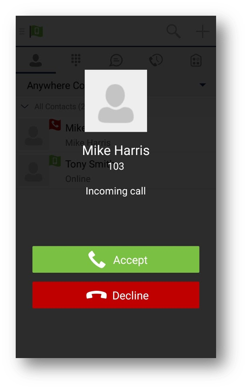 Incoming audio call window with caller details and button options to accept or decline - Image opens in full resolution in a new tab