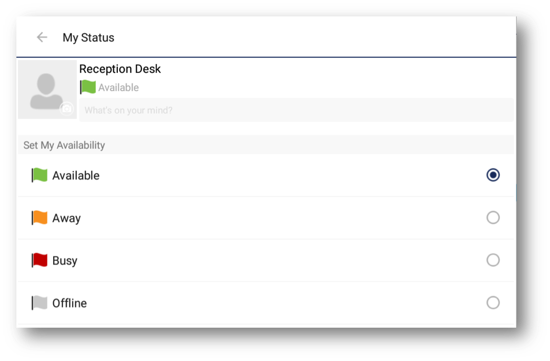 User profile status view with options for mobile, away, busy and offline - Image opens in full resolution in a new tab