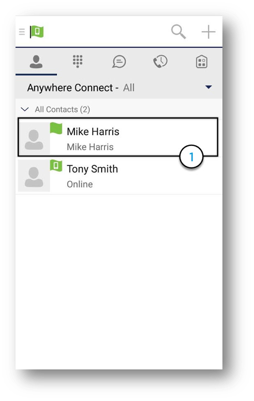Contact window of the Anywhere Connect for Android is shown with the Contact Mike Harris Selected. - Image opens in full resolution in a new tab
