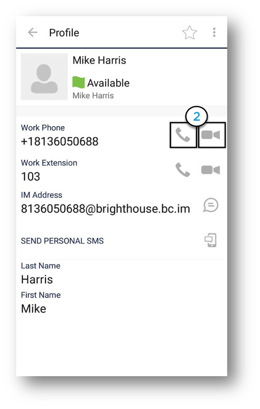 Profile window of the Anywhere Connect for Android is shown with the Call and Video Call icons highlighted. - Image opens in full resolution in a new tab