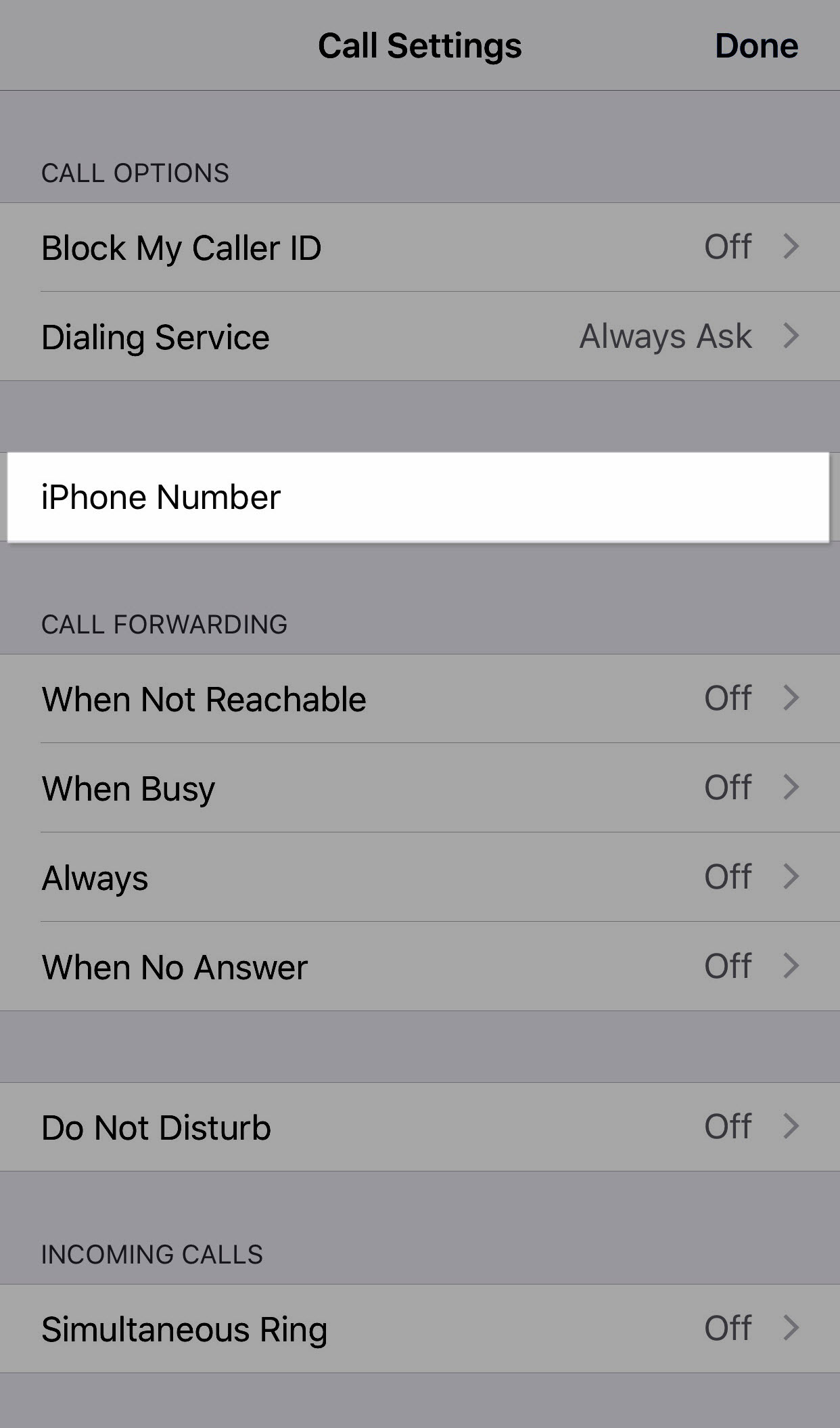 iPhone number is highlighted under call settings menu - Image opens in full resolution in a new tab
