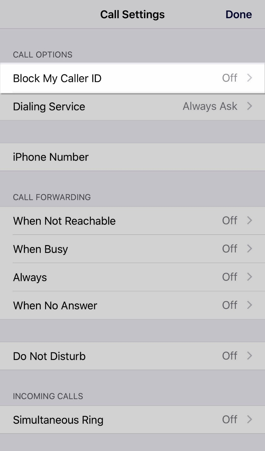 Block my caller ID is highlighted under call settings menu - Image opens in full resolution in a new tab
