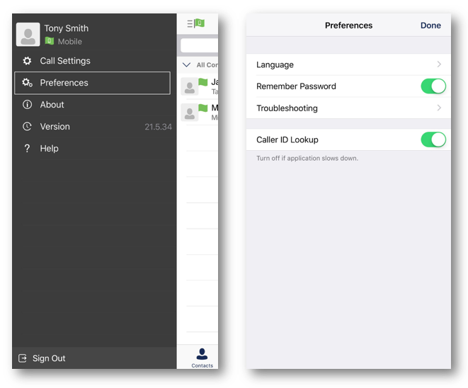 Anywhere Connect Iphone user profile preferences window with options for Language, Remember Password, Troubleshooting and Caller ID Lookup - Image opens in full resolution in a new tab