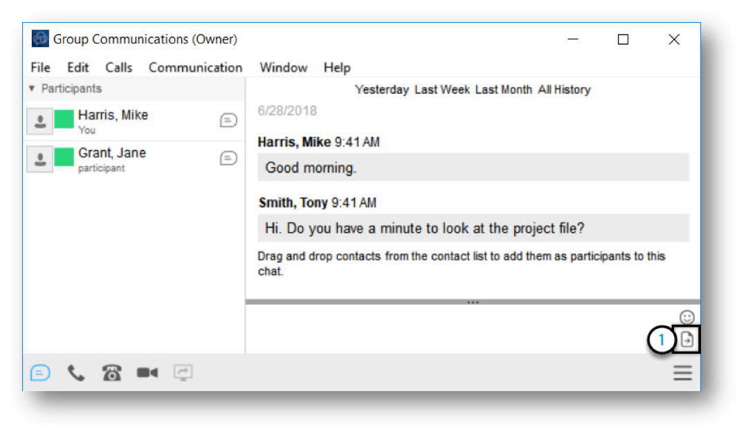 image show a group communication window open. with the file transfer icon highlighted - Image opens in full resolution in a new tab