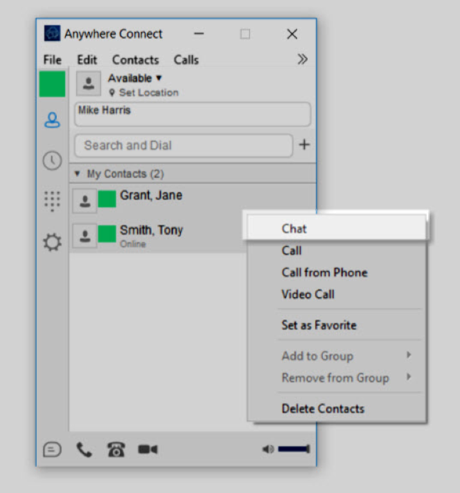 shows chat highlighted fron the list when you right click on a contact. show how to start a group chat - Image opens in full resolution in a new tab