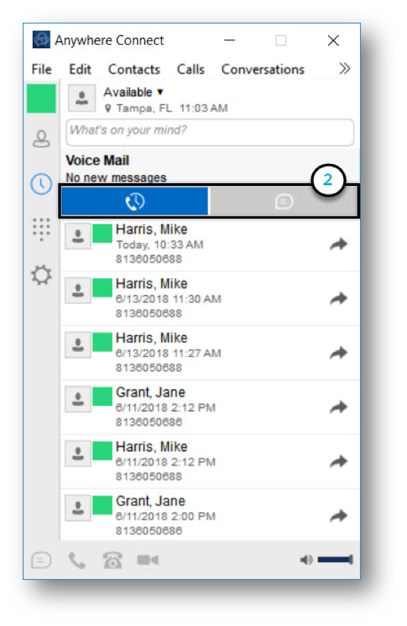 Anywhere connect with call history icon and chat history icon highlighted - Image opens in full resolution in a new tab