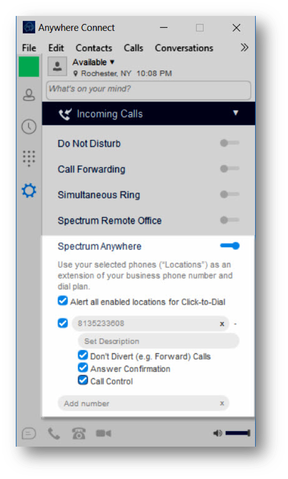 spectrum turned on. Alert all enabled locations for click-to-dial, checked. phone number checked with phone number in phone number field. don't divert, checked. answer confrimation, checked. call control, checked - Image opens in full resolution in a new tab