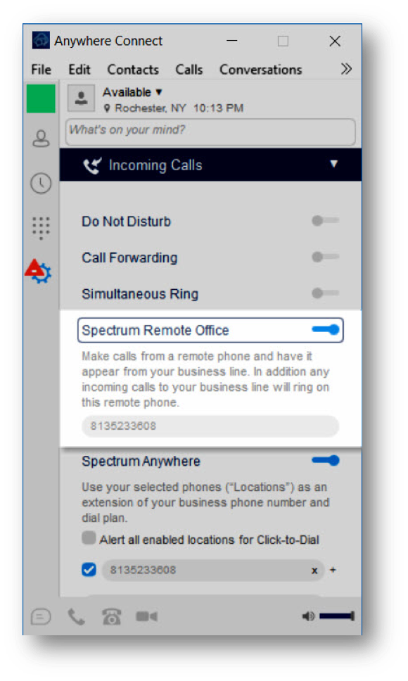 Spectrum remote office turned on - Image opens in full resolution in a new tab