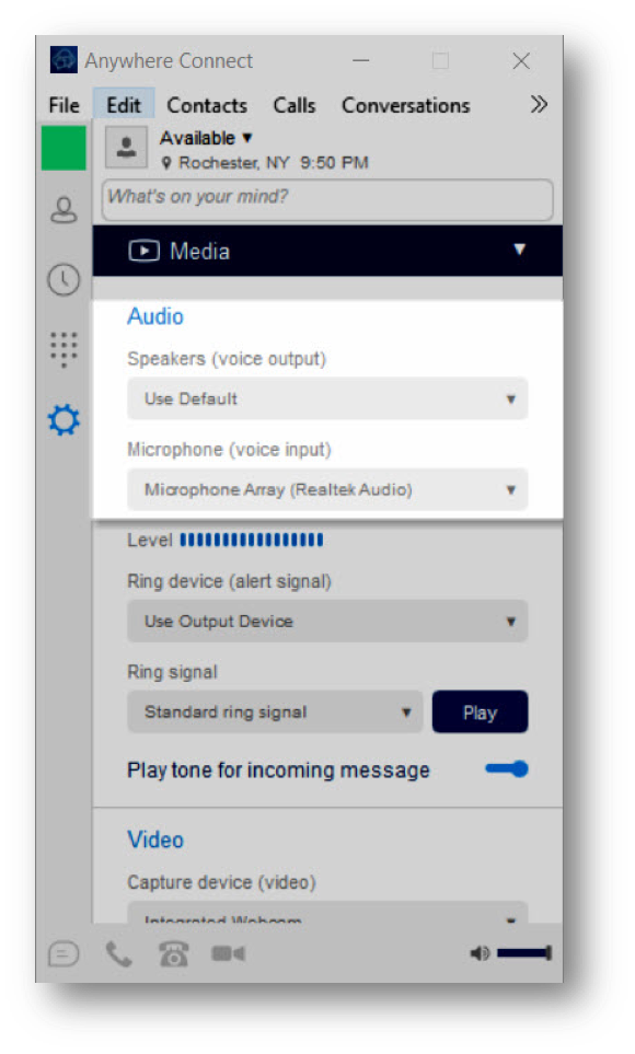 Anywhere Connect Media setting displaying speaker and micropohone options for Audio - Image opens in full resolution in a new tab