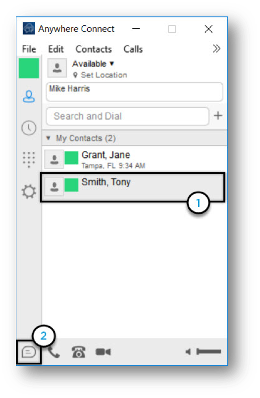 Anywhere Connect with contact from contact list and chat icon highlighted - Image opens in full resolution in a new tab